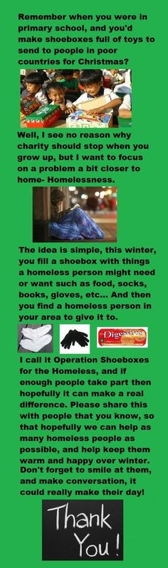 Operation shoebox for the homeless ~ What a great idea to do both ♥♥