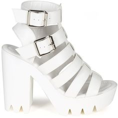Qupid CB57 Women Leatherette Open Toe Lug Sole Gladiator Chunky Heel... ($36) ❤ liked on Polyvore featuring shoes, sandals, lug sole sandals, white gladiator sandals, white chunky heel sandals, gladiator shoes and open toe sandals