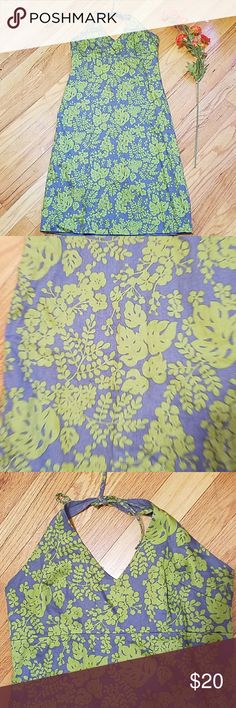 J CREW 100% cotton backless dress Very cute green and grey.  Fully lined.  In excellent condition. J. Crew Dresses