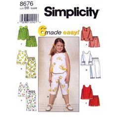 Girls Sewing Pattern Simplicity 8676 Scalloped Hem Top Capris & Shorts Size 2 3 4 or 5 6 6X UNCUT