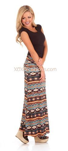 Burnt Orange Aztec Maxi Skirt