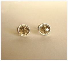 Items similar to Sterling Silver Stud Earrings,handcrafted with swarovski light smoked topaz on Etsy Diamond Earrings, Cufflinks, Sterling Silver, Unique Jewelry, Handmade Gifts, Accessories, Etsy, Vintage, Kid Craft Gifts