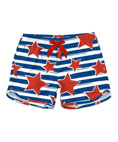 Navy Stripe & Red Star Shorts - Toddler & Girls