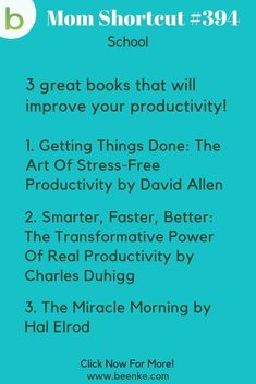 School Hacks Three books to read that can really improve your productivity! For school, work, or picking up new skills. Check out our lifehacks for school including study tips and learning resources. CLICK NOW to discover more Mom Hacks. Clever School, School Fun, Life Hacks For School, Useful Life Hacks, Fun Learning, Learning Resources, Reading Material, Study Tips, Study Hacks