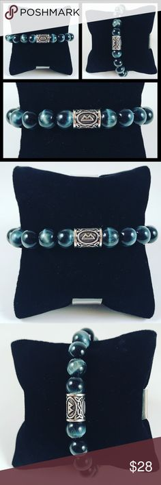 Men blue tiger eye celtic rune beaded bracelet 🎁FREE GIFT WITH EVERY PURCHASE !! LET ME KNOW IF YOU WANT MEN OR WOMEN GIFT WHEN PURCHASING 🎁Men beaded bracelet. Fits most , 7.5 to 8.5 inch wrist . New / Handmade by me .Made with 10mm genuine Blue Tiger eye gemstones beads .  Silver plated rune charm . Celtic , norse , viking charm . Name of this Rune is  Bekano ( means growth and new beginning ) 😊I ship fast!!😊✈️😉Bundle and save ! ( 10 % off bundles) . Any questions let me know ! 🚫No…