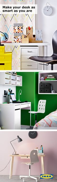 Make your desk as smart as you are! Your college study space should always have a comfy chair, plenty of storage and smart organization. Click for IKEA ideas! #IKEAStudyInStyle