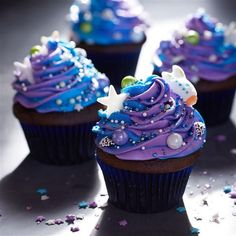 Swirled Galaxy Cupcakes from Pillsbury are sure to make your next birthday party out of this world!