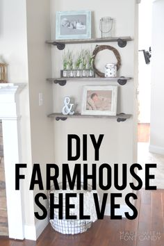 DIY Farmhouse Shelves!!!! Industrial look. I love them!!!! www.maeryanblog.com