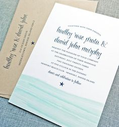 Hadley Watercolor Waves Beach Wedding Invitation - Aqua Waves, Navy Starfish, Recycled Taupe Envelope