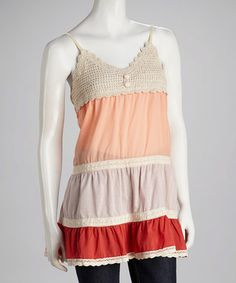 Take a look at this Orange & Red Crocheted Tank on zulily today!