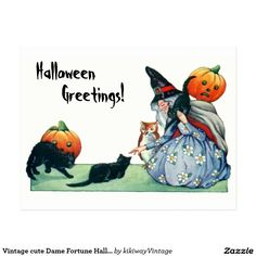 Vintage cute Dame Fortune Halloween Greetings