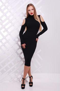 Платье открытые плечи арт. 021111453 Черный фото
