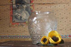 Clear Glass Vase Jar Sandwich Depression Glass by CatChristie, $23.99