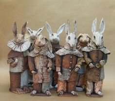 Ceramic artist Helen Perrier from Auckland New Zealand makes ceramic sculptures and pottery. Most of Helens work tells a story with a historical element. Ceramic Animals, Clay Animals, Ceramic Art, Ceramic Figures, Pottery Sculpture, Sculpture Clay, Pottery Art, Frank Stella, Lapin Art