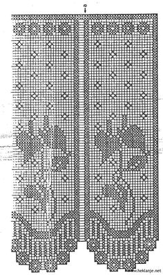 This Pin was discovered by gun Filet Crochet, Crochet Doily Rug, Crochet Cross, Crochet Chart, Crochet Stitches, Crochet Curtain Pattern, Crochet Curtains, Curtain Patterns, Crochet Designs