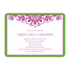 Hot Pink and Green Lace Frame Bridal Shower Invitations