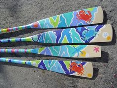 coastal decorative painted accents | Hand Painted Decorative Oars