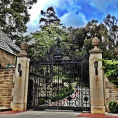 The beautiful gate to Greystone Mansion in Beverly Hills.