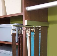 Slide out rack for belts, purses, scarves, necklaces, etc.