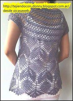 crochet fabric , CROCHET - GANCHILLO - PATRONES - GRAFICOS: CHALECO MUY MODERNO TEJIDO A GANCHILLO