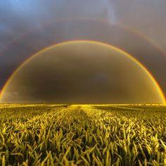 doppelter Regenbogen zur Goldenen Stunde
