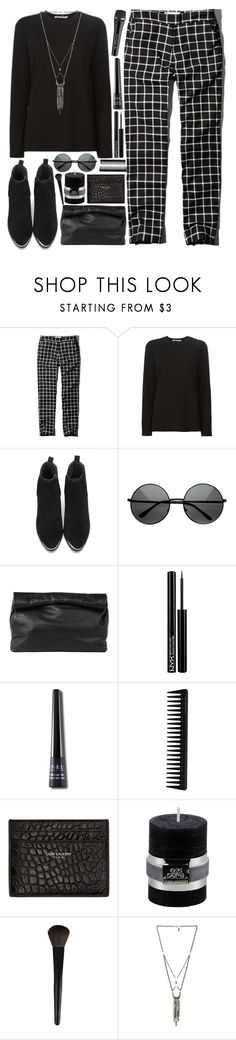"""Ebony"" by ladyvalkyrie ❤ liked on Polyvore featuring Abercrombie & Fitch, Alexander Wang, Marie Turnor, NYX, Sennheiser, GHD, Yves Saint Laurent, Lene Bjerre, INIKA and Ettika"