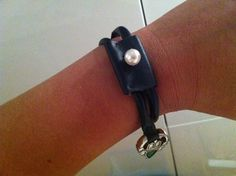 Bracelet made of bicycle tyre. :-)