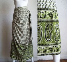 Vintage 90s Boho Grunge India Block Print Border Cotton Wrap Maxi Skirt OSFM $15.00 by funquejunque