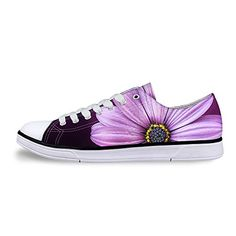 FOR U DESIGNS Purple Floral Print Light Lace-up Canvas Sneaker for Women Lady US 6 * Read more  at the image link.