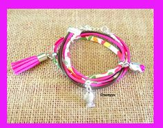 Bracelet liberty mitsi fuchsia et poissons : Bracelet par crocmyys