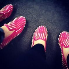 #pink #spikes #shoes