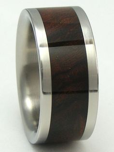 I like this alot for him. Titanium/Wood Ring