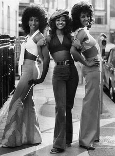 The 3 Degrees female vocal ensemble.Debbie Ferguson on the right.. , the African American style back then was the afro,big flares lol - and also mini skirts that were a little more modest than the white people's skirts. Description from pinterest.com. I searched for this on bing.com/images