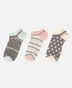 Pack of polka dot and stripe pattern ankle socks - OYSHO