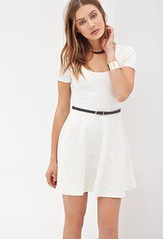 "Matelassé Rose Skater Dress | Forever 21 - 2000137270 matelassé rose pattern and scoop neckline, stretch-knit  Removable faux leather belt, short sleeves Lightweight, unlined 96% polyester, 4% spandex 31.5"" full length, 30.5"" chest, 28.5"" waist, 5.75"" sleeve length"