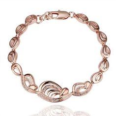 18K Rose Gold Plated Leaf Crystal Accent Link Bracelet