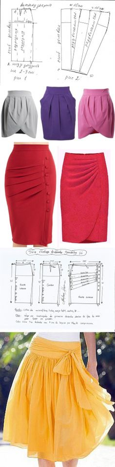 Simple to add a drape to a pencil skirt pattern Diy Clothing, Sewing Clothes, Clothing Patterns, Dress Patterns, Sewing Patterns, Fashion Sewing, Diy Fashion, Diy Kleidung, Diy Vetement