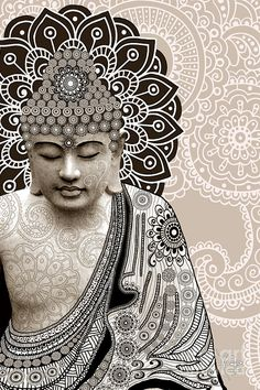 Meditation Mehndi - Paisley Buddha Artwork - Copyrighted Digital Art by Christopher Beikmann