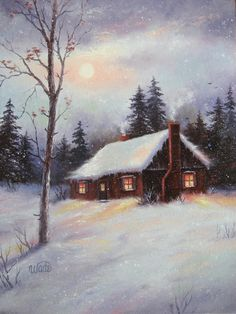 Silvery Moon Oil Painting Vickie Wade art by VickieWadeFineArt, $65.00