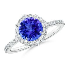 Angara Claw Tanzanite and Diamond Halo Cathedral Ring in Yellow Gold 9ZSLD