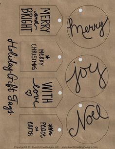 holiday gifts Free printable holiday gift tags on kraft paper. Easy to print out and add to your Christmas packages. Christmas Tags Printable, Christmas Labels, Holiday Gift Tags, Gift Tags Printable, Noel Christmas, Christmas Wrapping, Holiday Crafts, Holiday Fun, Christmas Cards