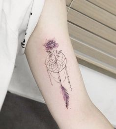 Dreamcatcher with rose tattoo - 60 Dreamcatcher Tattoo Designs for Women <3 <3