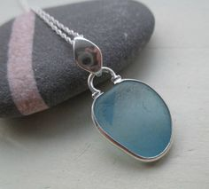 Light Blue End Of Day Sea Glass Sterling Silver by SeahamWaves