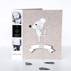 Geboortekaartje met Kraft look met een leuk hertje als illustratie voor de kleur van de details is er gekozen voor de keur mint. de Illustratie is met de hand getekend