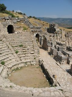 """Ephesus, Turkey – Sat right here in this amphitheater while our guide told us of the silversmiths' vendetta against St. Paul, he was ruining their business, making """"gods"""" to sell to the people. Ancient Ruins, Ancient Greece, Ancient History, European History, Ancient Artifacts, Ancient Egypt, American History, Ancient Buildings, Ancient Architecture"""