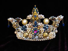 Majestic Crown. Vintage Jewelry Wall Art. Jewelry mosaic, repurposed jewelry art. This was a custom piece. Please contact me if interested in your custom crown or other design.