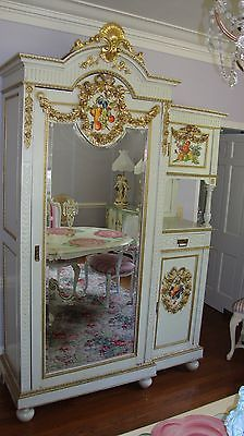 Confident Armoire Antique French Country Farmhouse 1900 Large Solid Oak Floral Roses Furniture