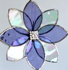 Stained Glass Suncatcher 3d Flower ~ Mauve 3D Flower Ornament with Rhinestone Centre  This sweet little 3 dimensional flower will brighten