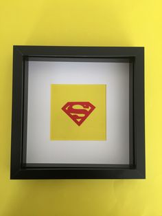 Superman Logo cutout in frame  Available to buy at my etsy store!!  25% discount until 10.6.16 with code 'firstmonth25'  https://www.etsy.com/uk/shop/SuperheroCutouts
