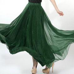 NEW Women's Boho Maxi Dress Gauze Chiffon Long Skirt Pleated Long Maxi Dress